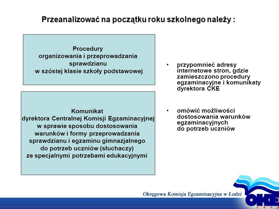Terminarz dyrektora do 30 września Zapoznać rodziców z dostosowaniami warunków i form egzaminu.