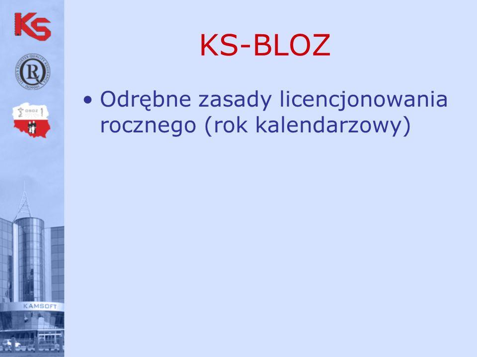 KS-BLOZ Odrębne zasady licencjonowania rocznego (rok kalendarzowy)