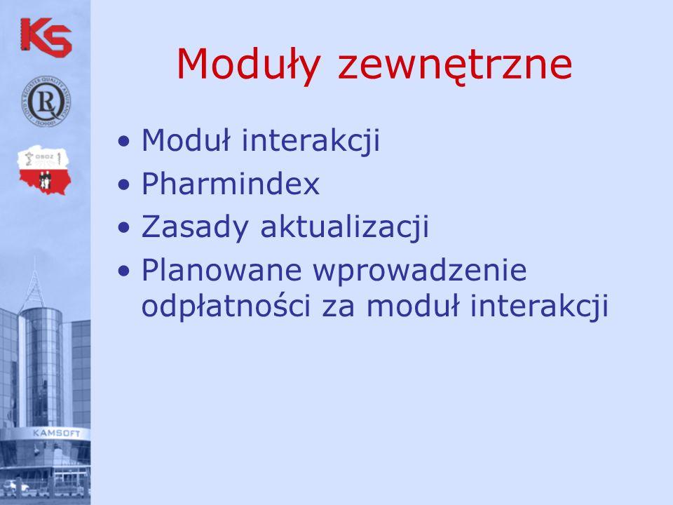 Moduły zewnętrzne Moduł interakcji Pharmindex Zasady aktualizacji Planowane wprowadzenie odpłatności za moduł interakcji