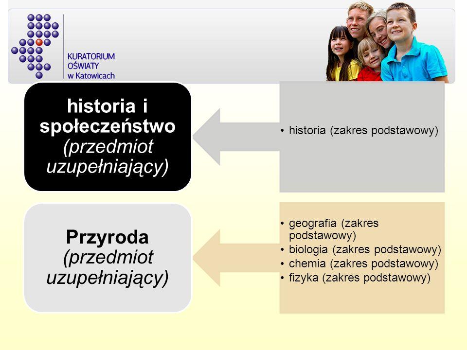 historia (zakres podstawowy) historia i społeczeństwo (przedmiot uzupełniający) geografia (zakres podstawowy) biologia (zakres podstawowy) chemia (zakres podstawowy) fizyka (zakres podstawowy) Przyroda (przedmiot uzupełniający)