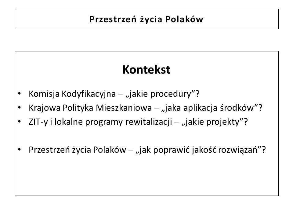 Przestrzeń życia Polaków Kontekst Komisja Kodyfikacyjna – jakie procedury? Krajowa Polityka Mieszkaniowa – jaka aplikacja środków? ZIT-y i lokalne pro
