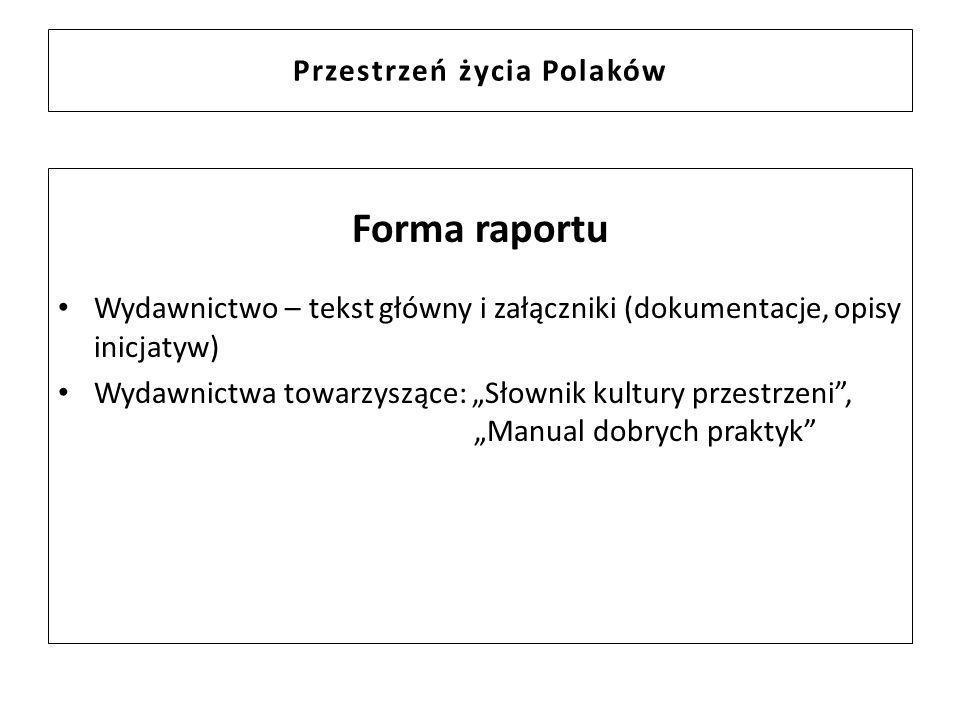 Przestrzeń życia Polaków Forma raportu Wydawnictwo – tekst główny i załączniki (dokumentacje, opisy inicjatyw) Wydawnictwa towarzyszące: Słownik kultu