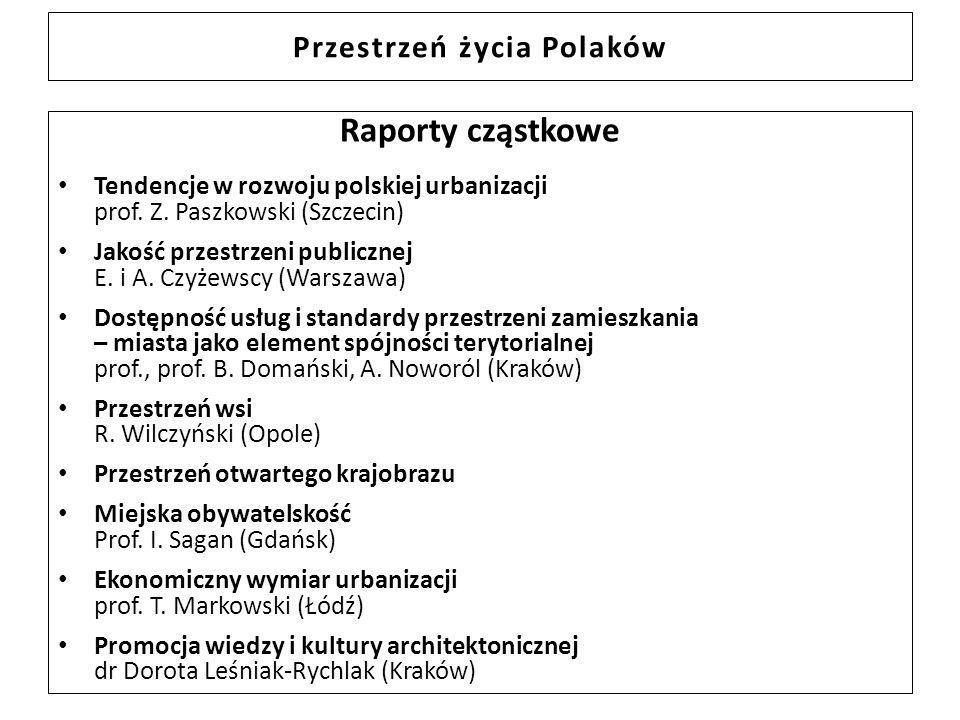 Przestrzeń życia Polaków Raporty cząstkowe Tendencje w rozwoju polskiej urbanizacji prof. Z. Paszkowski (Szczecin) Jakość przestrzeni publicznej E. i