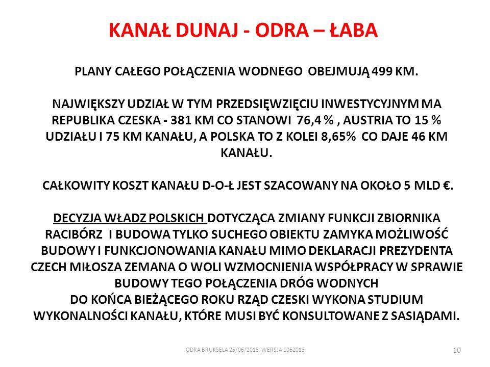 ODRA BRUKSELA 25/06/2013 WERSJA 1062013 10 PLANY CAŁEGO POŁĄCZENIA WODNEGO OBEJMUJĄ 499 KM. NAJWIĘKSZY UDZIAŁ W TYM PRZEDSIĘWZIĘCIU INWESTYCYJNYM MA R