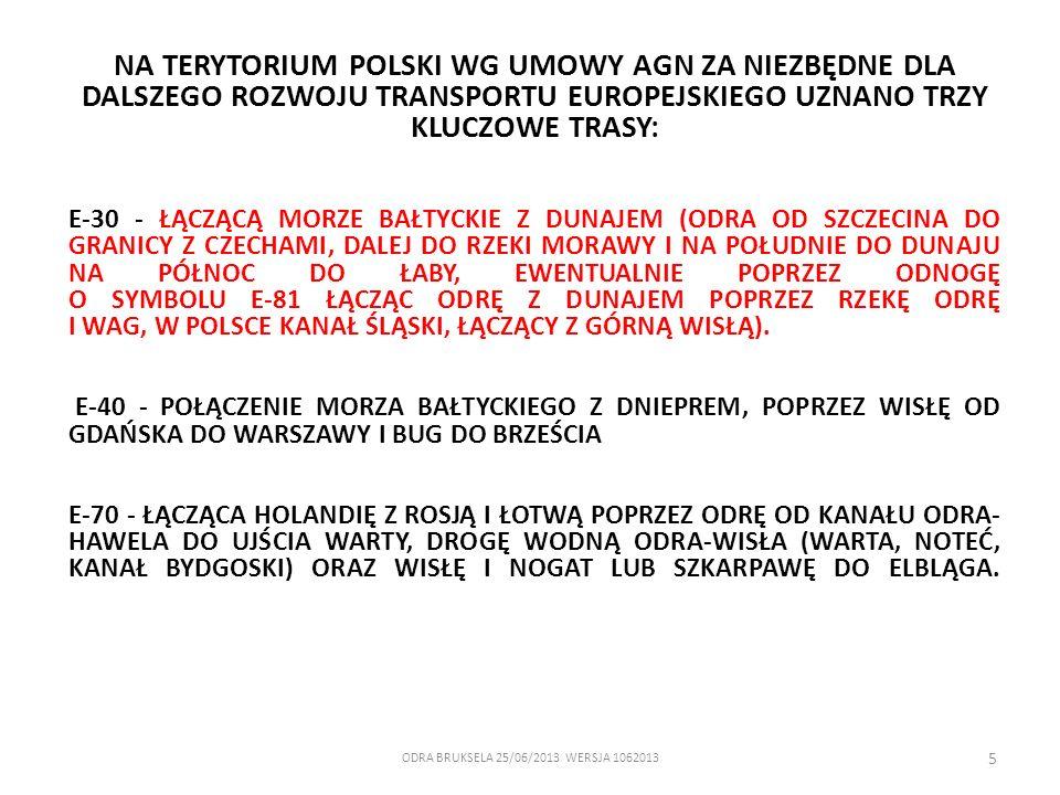 ODRA BRUKSELA 25/06/2013 WERSJA 1062013 5 NA TERYTORIUM POLSKI WG UMOWY AGN ZA NIEZBĘDNE DLA DALSZEGO ROZWOJU TRANSPORTU EUROPEJSKIEGO UZNANO TRZY KLU
