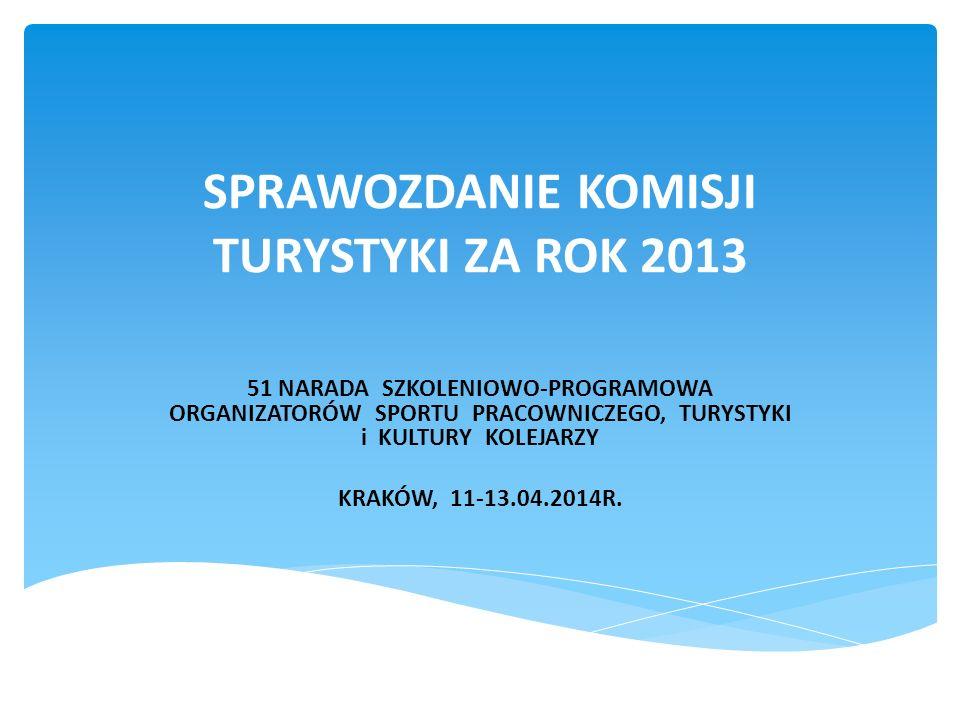 SPRAWOZDANIE KOMISJI TURYSTYKI ZA ROK 2013 51 NARADA SZKOLENIOWO-PROGRAMOWA ORGANIZATORÓW SPORTU PRACOWNICZEGO, TURYSTYKI i KULTURY KOLEJARZY KRAKÓW,