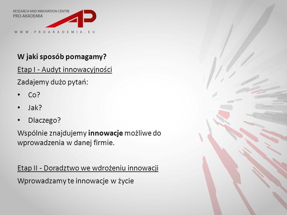 W jaki sposób pomagamy. Etap I - Audyt innowacyjności Zadajemy dużo pytań: Co.