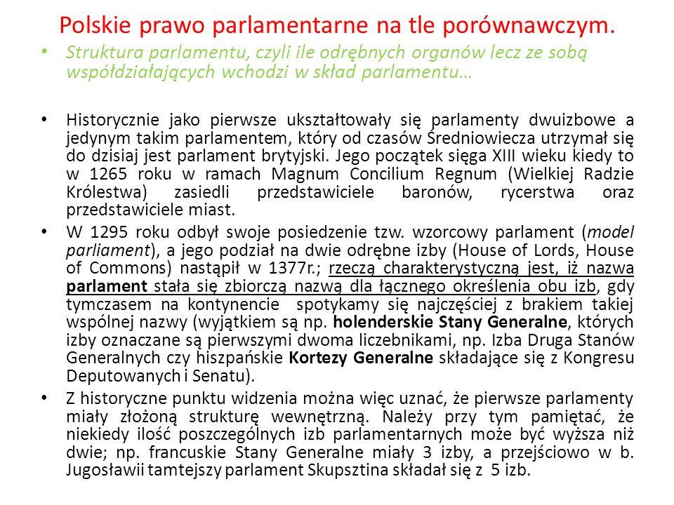 Polskie prawo parlamentarne na tle porównawczym. Struktura parlamentu, czyli ile odrębnych organów lecz ze sobą współdziałających wchodzi w skład parl
