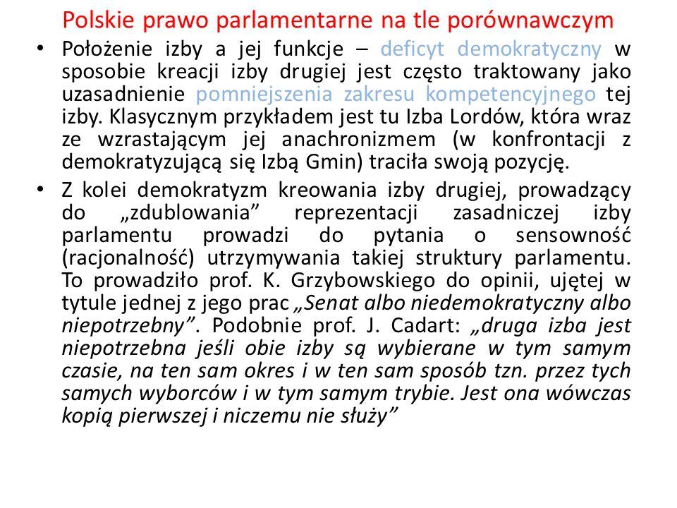 Polskie prawo parlamentarne na tle porównawczym Położenie izby a jej funkcje – deficyt demokratyczny w sposobie kreacji izby drugiej jest często trakt