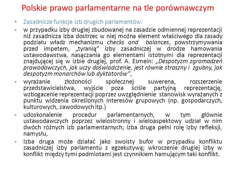 Polskie prawo parlamentarne na tle porównawczym Zasadnicze funkcje izb drugich parlamentów: -w przypadku izby drugiej zbudowanej na zasadzie odmiennej