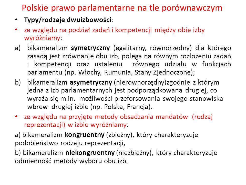 Polskie prawo parlamentarne na tle porównawczym Typy/rodzaje dwuizbowości: ze względu na podział zadań i kompetencji między obie izby wyróżniamy: a)bi