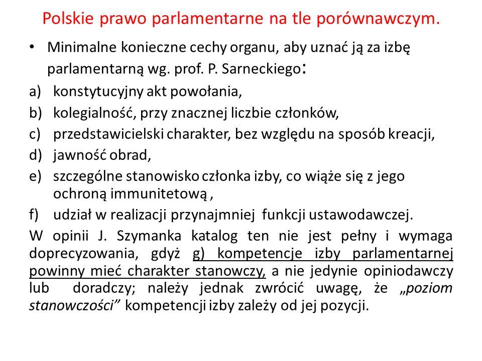 Polskie prawo parlamentarne na tle porównawczym. Minimalne konieczne cechy organu, aby uznać ją za izbę parlamentarną wg. prof. P. Sarneckiego : a)kon