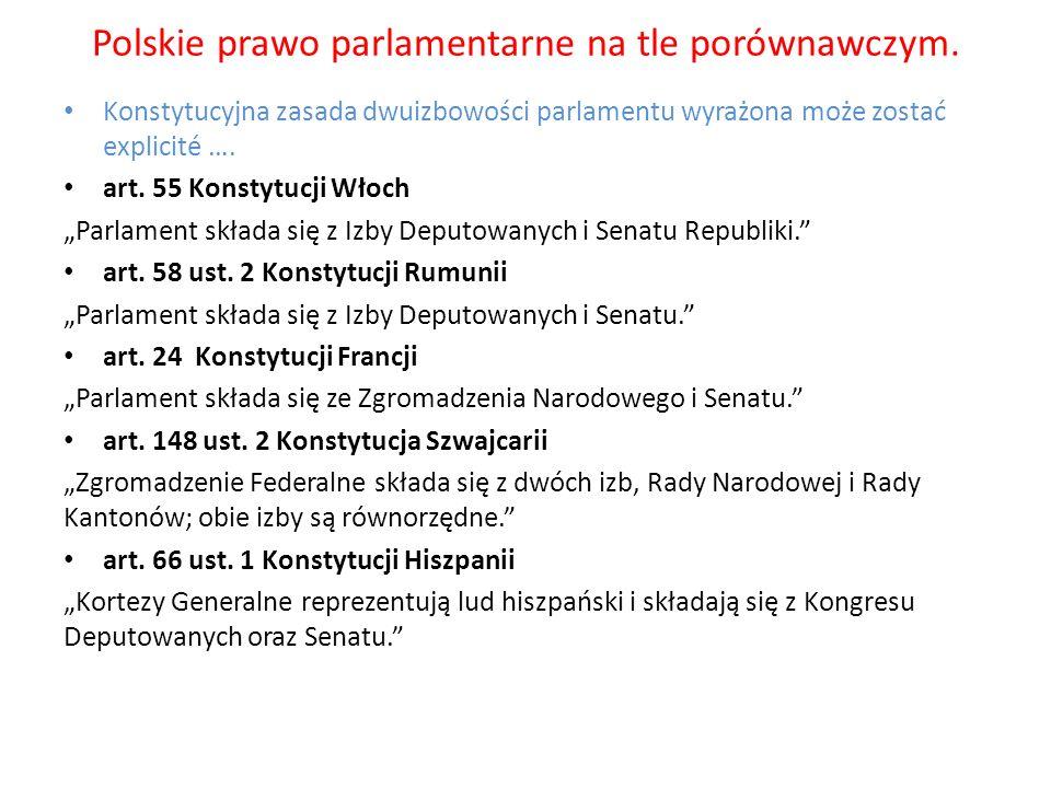 Polskie prawo parlamentarne na tle porównawczym. Konstytucyjna zasada dwuizbowości parlamentu wyrażona może zostać explicité …. art. 55 Konstytucji Wł