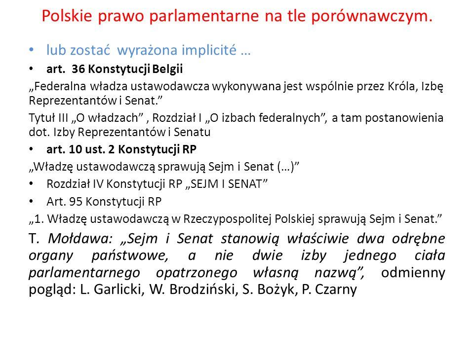 Polskie prawo parlamentarne na tle porównawczym. lub zostać wyrażona implicité … art. 36 Konstytucji Belgii Federalna władza ustawodawcza wykonywana j