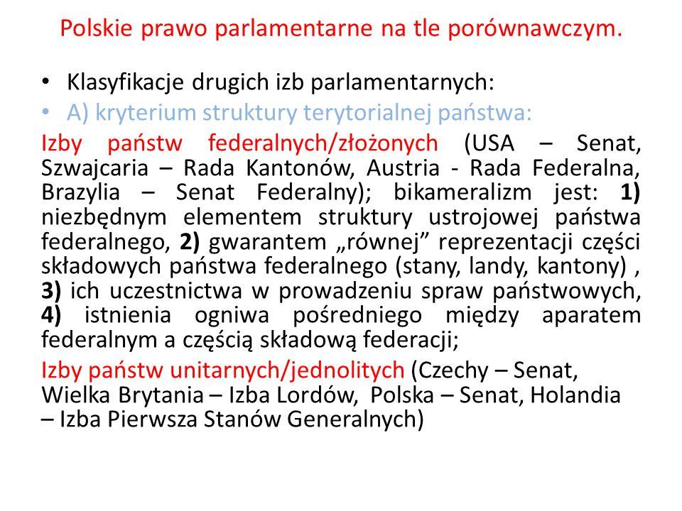 Polskie prawo parlamentarne na tle porównawczym. Klasyfikacje drugich izb parlamentarnych: A) kryterium struktury terytorialnej państwa: Izby państw f