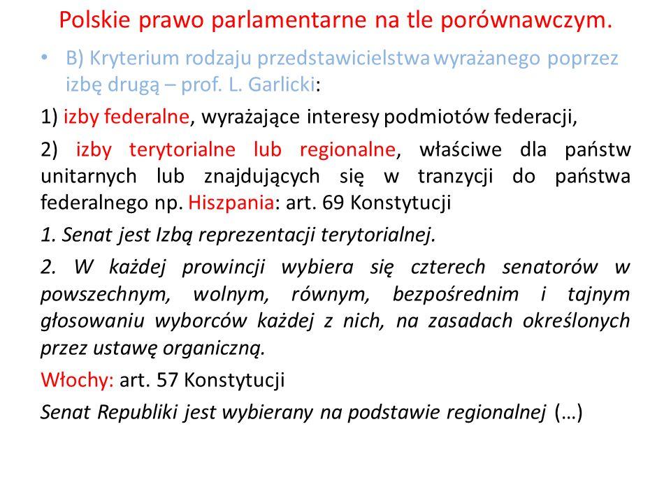 Polskie prawo parlamentarne na tle porównawczym. B) Kryterium rodzaju przedstawicielstwa wyrażanego poprzez izbę drugą – prof. L. Garlicki: 1) izby fe