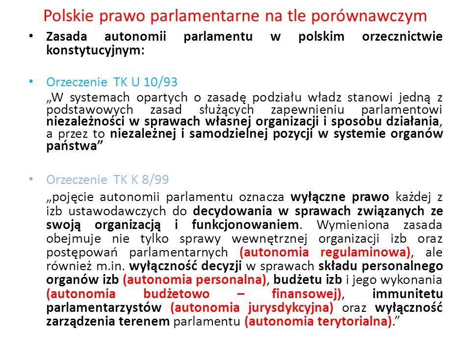 Polskie prawo parlamentarne na tle porównawczym Zasada autonomii parlamentu w polskim orzecznictwie konstytucyjnym: Orzeczenie TK U 10/93 W systemach
