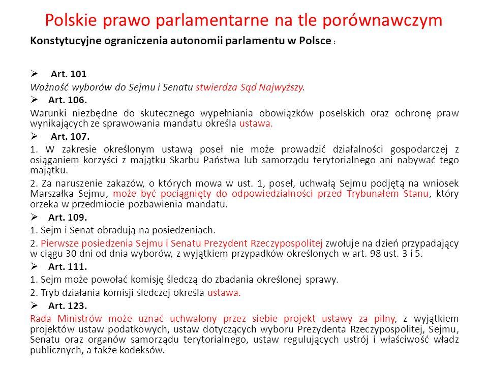 Polskie prawo parlamentarne na tle porównawczym Konstytucyjne ograniczenia autonomii parlamentu w Polsce : Art. 101 Ważność wyborów do Sejmu i Senatu