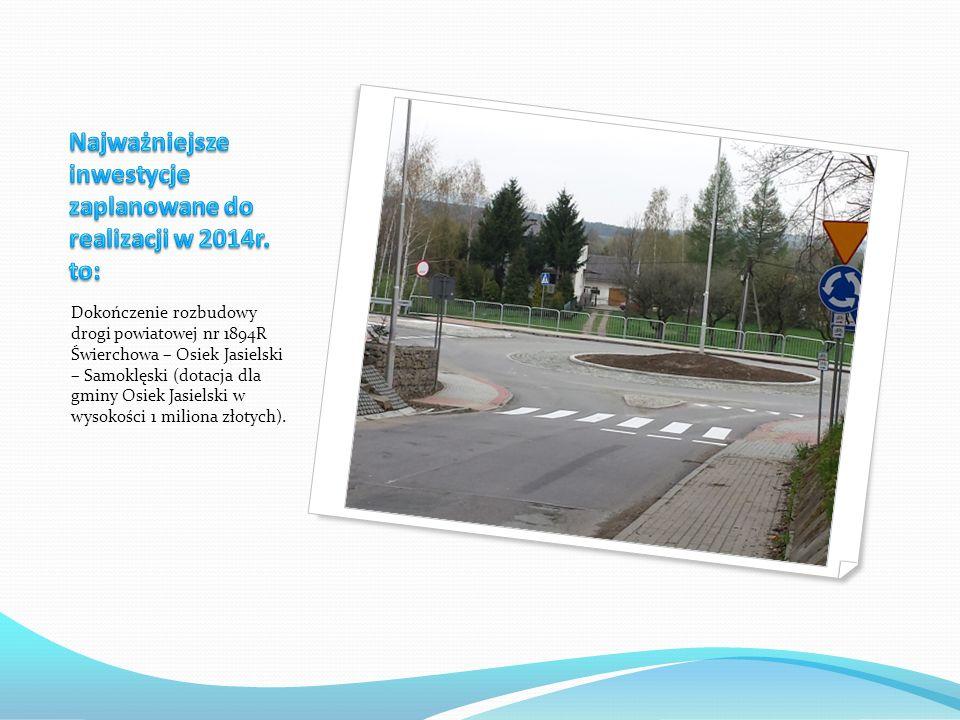 Dokończenie rozbudowy drogi powiatowej nr 1894R Świerchowa – Osiek Jasielski – Samoklęski (dotacja dla gminy Osiek Jasielski w wysokości 1 miliona złotych).