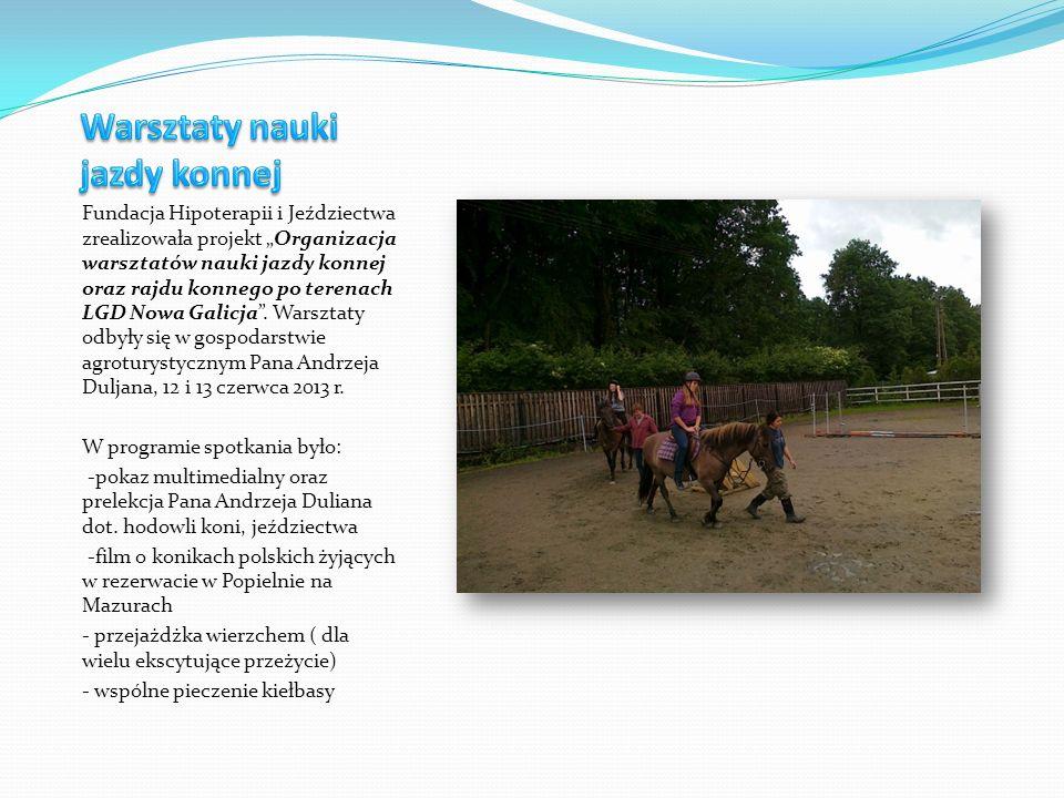 Fundacja Hipoterapii i Jeździectwa zrealizowała projekt Organizacja warsztatów nauki jazdy konnej oraz rajdu konnego po terenach LGD Nowa Galicja.