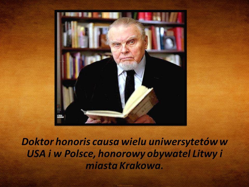 Doktor honoris causa wielu uniwersytetów w USA i w Polsce, honorowy obywatel Litwy i miasta Krakowa.
