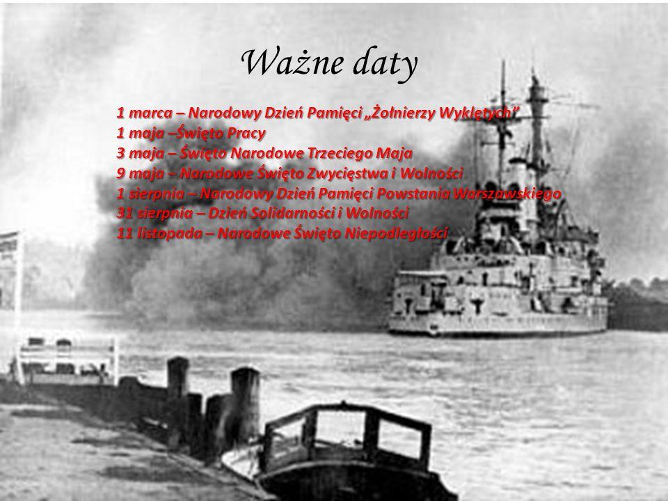 Ważne daty 1 marca – Narodowy Dzień Pamięci Żołnierzy Wyklętych 1 maja –Święto Pracy 3 maja – Święto Narodowe Trzeciego Maja 9 maja – Narodowe Święto Zwycięstwa i Wolności 1 sierpnia – Narodowy Dzień Pamięci Powstania Warszawskiego 31 sierpnia – Dzień Solidarności i Wolności 11 listopada – Narodowe Święto Niepodległości