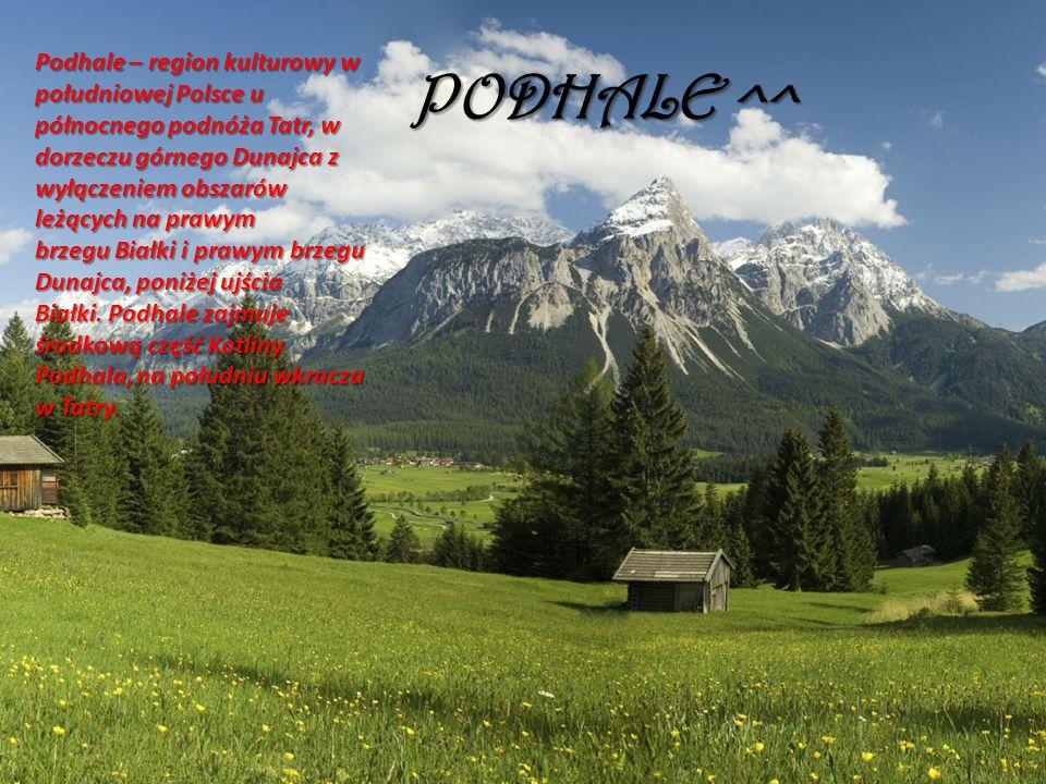 PODHALE ^^ Podhale – region kulturowy w południowej Polsce u północnego podnóża Tatr, w dorzeczu górnego Dunajca z wyłączeniem obszarów leżących na prawym brzegu Białki i prawym brzegu Dunajca, poniżej ujścia Białki.