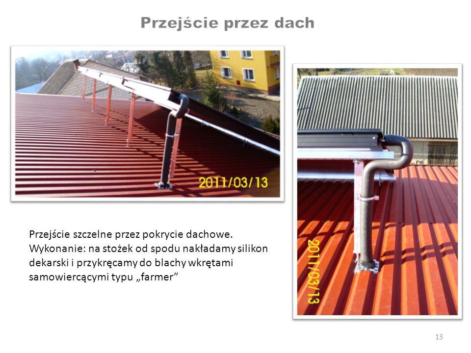 13 Przejście szczelne przez pokrycie dachowe. Wykonanie: na stożek od spodu nakładamy silikon dekarski i przykręcamy do blachy wkrętami samowiercącymi