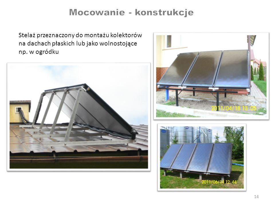 14 Stelaż przeznaczony do montażu kolektorów na dachach płaskich lub jako wolnostojące np. w ogródku