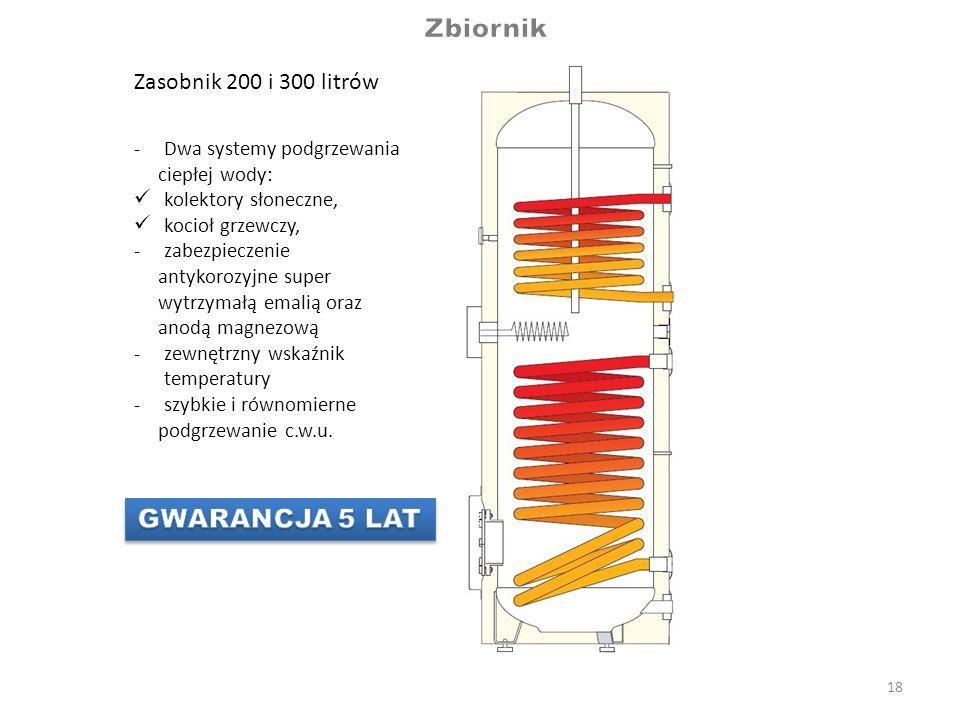 18 -Dwa systemy podgrzewania ciepłej wody: kolektory słoneczne, kocioł grzewczy, -zabezpieczenie antykorozyjne super wytrzymałą emalią oraz anodą magn