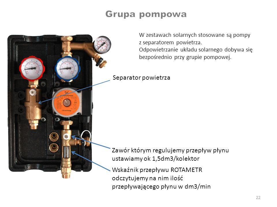 22 W zestawach solarnych stosowane są pompy z separatorem powietrza. Odpowietrzanie układu solarnego dobywa się bezpośrednio przy grupie pompowej. Sep