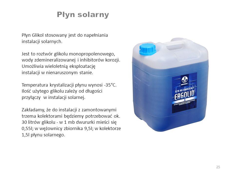 25 Płyn Glikol stosowany jest do napełniania instalacji solarnych. Jest to roztwór glikolu monopropolenowego, wody zdemineralizowanej i inhibitorów ko
