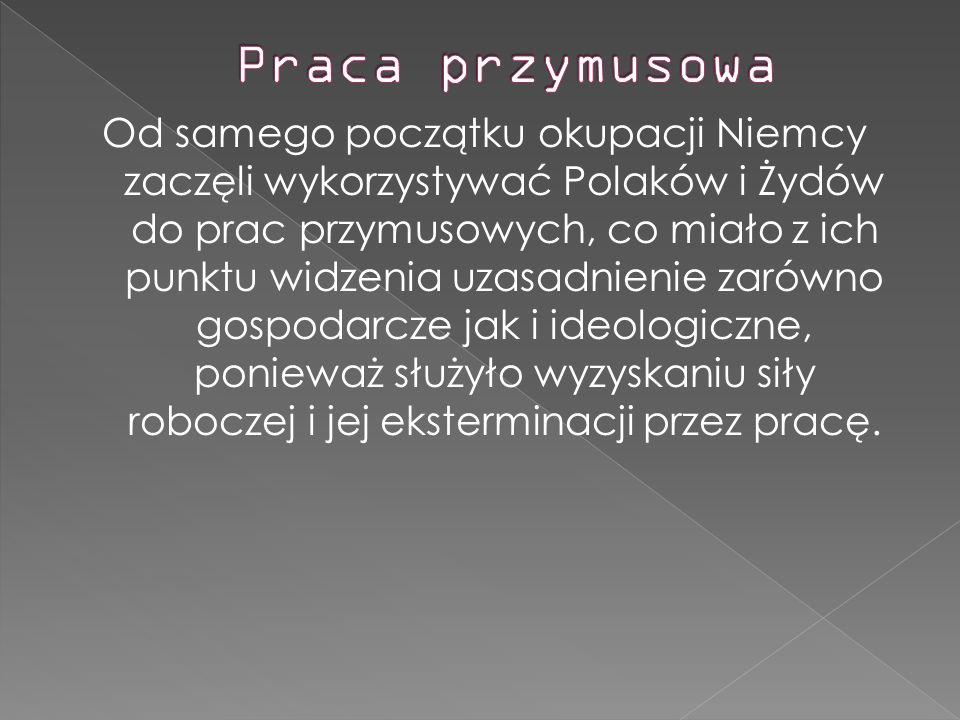 Od samego początku okupacji Niemcy zaczęli wykorzystywać Polaków i Żydów do prac przymusowych, co miało z ich punktu widzenia uzasadnienie zarówno gos