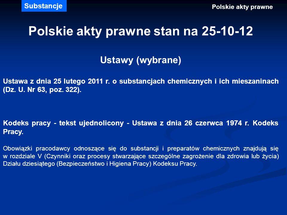 Polskie akty prawne stan na 25-10-12 Ustawy (wybrane) Ustawa z dnia 25 lutego 2011 r. o substancjach chemicznych i ich mieszaninach (Dz. U. Nr 63, poz