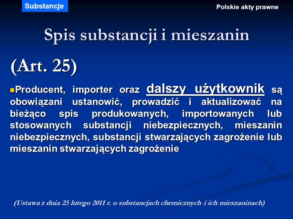 Spis substancji i mieszanin (Art. 25) Producent, importer oraz dalszy użytkownik są obowiązani ustanowić, prowadzić i aktualizować na bieżąco spis pro