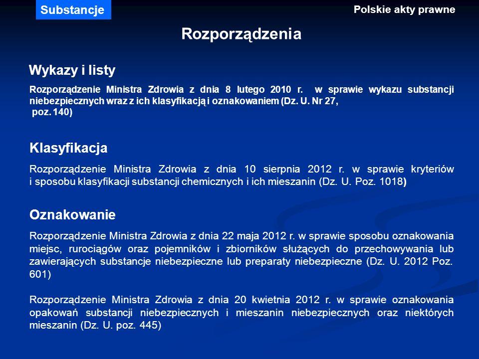 Rozporządzenia Wykazy i listy Rozporządzenie Ministra Zdrowia z dnia 8 lutego 2010 r. w sprawie wykazu substancji niebezpiecznych wraz z ich klasyfika