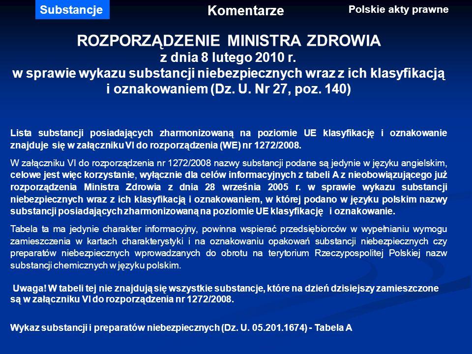 ROZPORZĄDZENIE MINISTRA ZDROWIA z dnia 8 lutego 2010 r. w sprawie wykazu substancji niebezpiecznych wraz z ich klasyfikacją i oznakowaniem (Dz. U. Nr