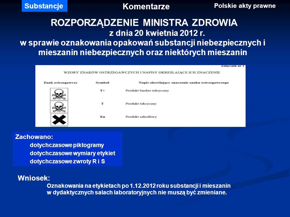 ROZPORZĄDZENIE MINISTRA ZDROWIA z dnia 20 kwietnia 2012 r. w sprawie oznakowania opakowań substancji niebezpiecznych i mieszanin niebezpiecznych oraz