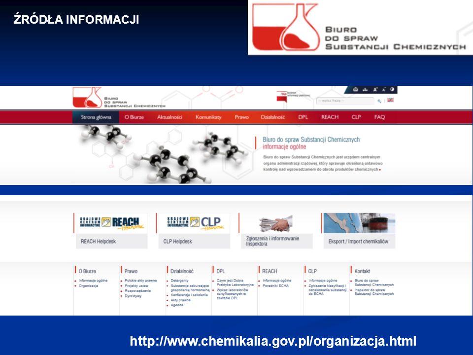 http://www.chemikalia.gov.pl/organizacja.html ŹRÓDŁA INFORMACJI
