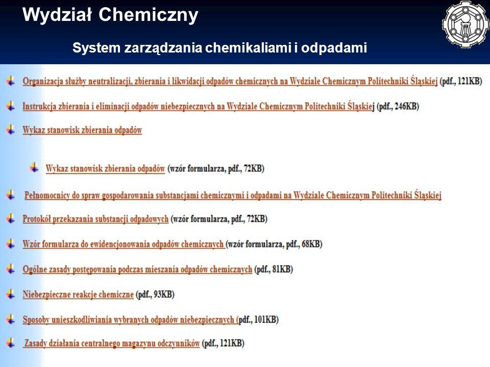 System zarządzania chemikaliami i odpadami Wydział Chemiczny