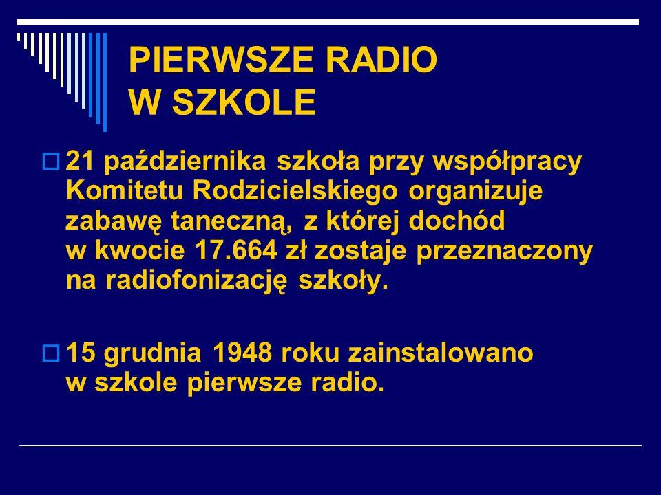 PIERWSZE RADIO W SZKOLE 21 października szkoła przy współpracy Komitetu Rodzicielskiego organizuje zabawę taneczną, z której dochód w kwocie 17.664 zł