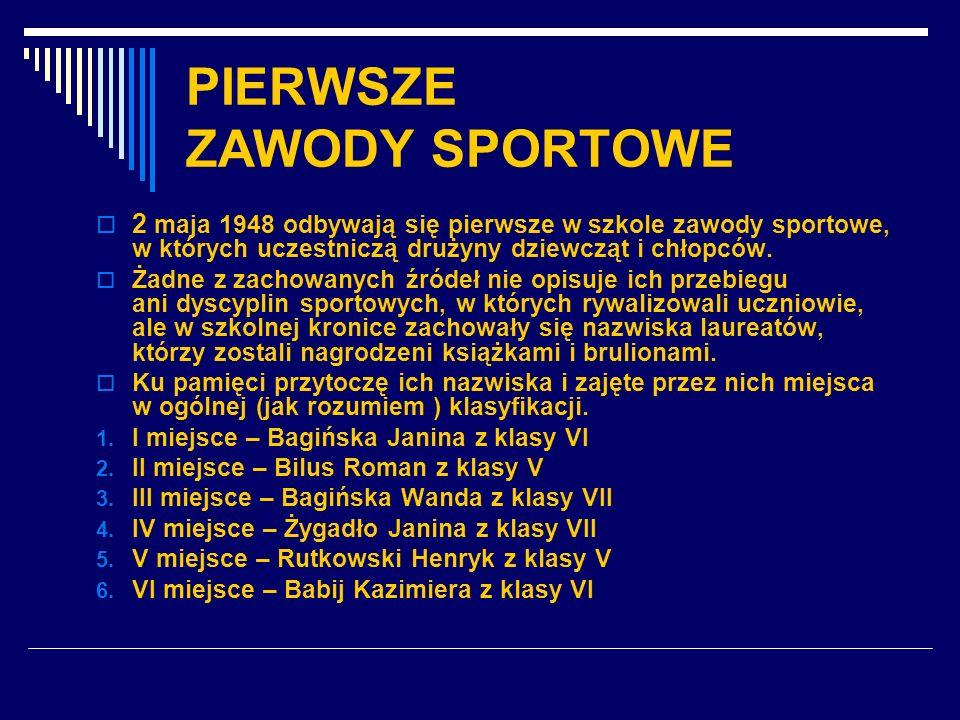 PIERWSZE ZAWODY SPORTOWE 2 maja 1948 odbywają się pierwsze w szkole zawody sportowe, w których uczestniczą drużyny dziewcząt i chłopców. Żadne z zacho