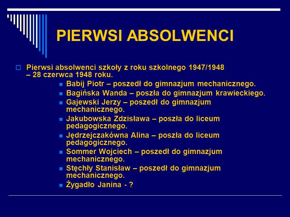 PIERWSI ABSOLWENCI Pierwsi absolwenci szkoły z roku szkolnego 1947/1948 – 28 czerwca 1948 roku. Babij Piotr – poszedł do gimnazjum mechanicznego. Bagi