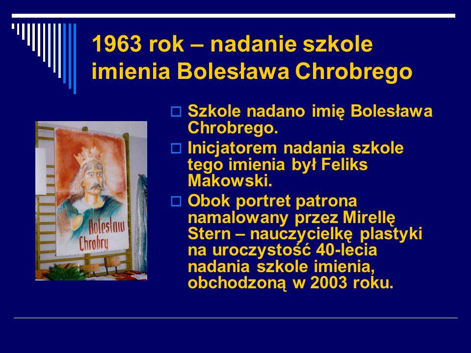 1963 rok – nadanie szkole imienia Bolesława Chrobrego Szkole nadano imię Bolesława Chrobrego. Inicjatorem nadania szkole tego imienia był Feliks Makow