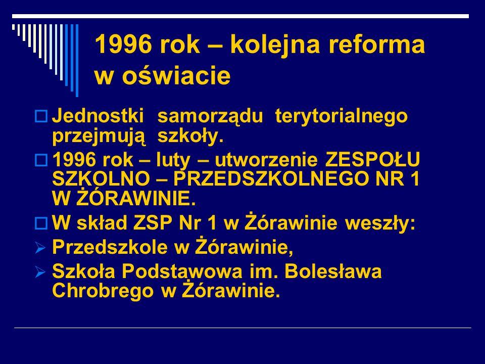 1996 rok – kolejna reforma w oświacie Jednostki samorządu terytorialnego przejmują szkoły. 1996 rok – luty – utworzenie ZESPOŁU SZKOLNO – PRZEDSZKOLNE