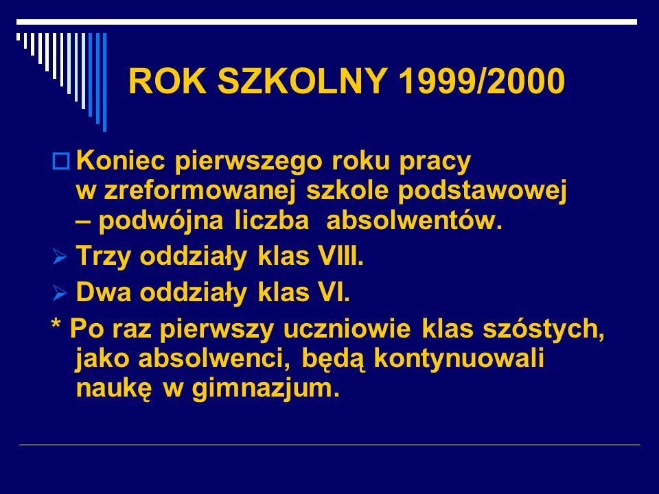 ROK SZKOLNY 1999/2000 Koniec pierwszego roku pracy w zreformowanej szkole podstawowej – podwójna liczba absolwentów. Trzy oddziały klas VIII. Dwa oddz