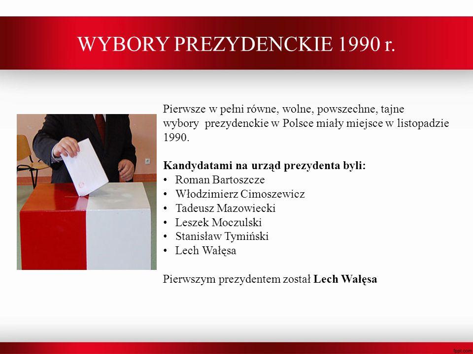 WYBORY PREZYDENCKIE 1990 r. Pierwsze w pełni równe, wolne, powszechne, tajne wybory prezydenckie w Polsce miały miejsce w listopadzie 1990. Kandydatam