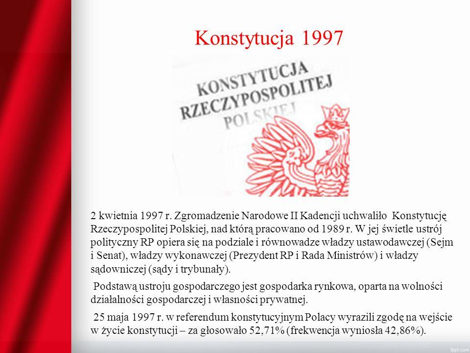 Konstytucja 1997 2 kwietnia 1997 r. Zgromadzenie Narodowe II Kadencji uchwaliło Konstytucję Rzeczypospolitej Polskiej, nad którą pracowano od 1989 r.