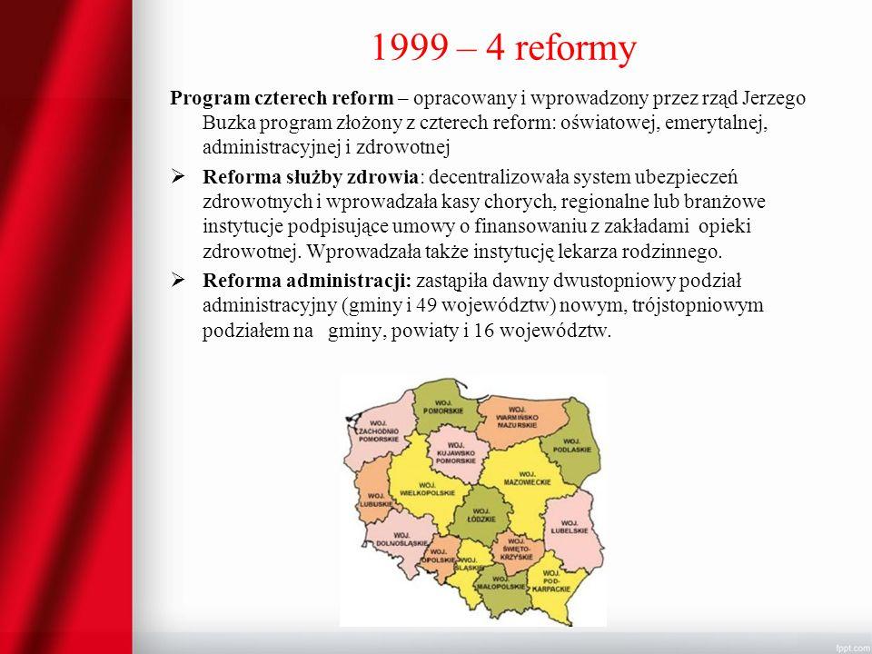 1999 – 4 reformy Program czterech reform – opracowany i wprowadzony przez rząd Jerzego Buzka program złożony z czterech reform: oświatowej, emerytalne