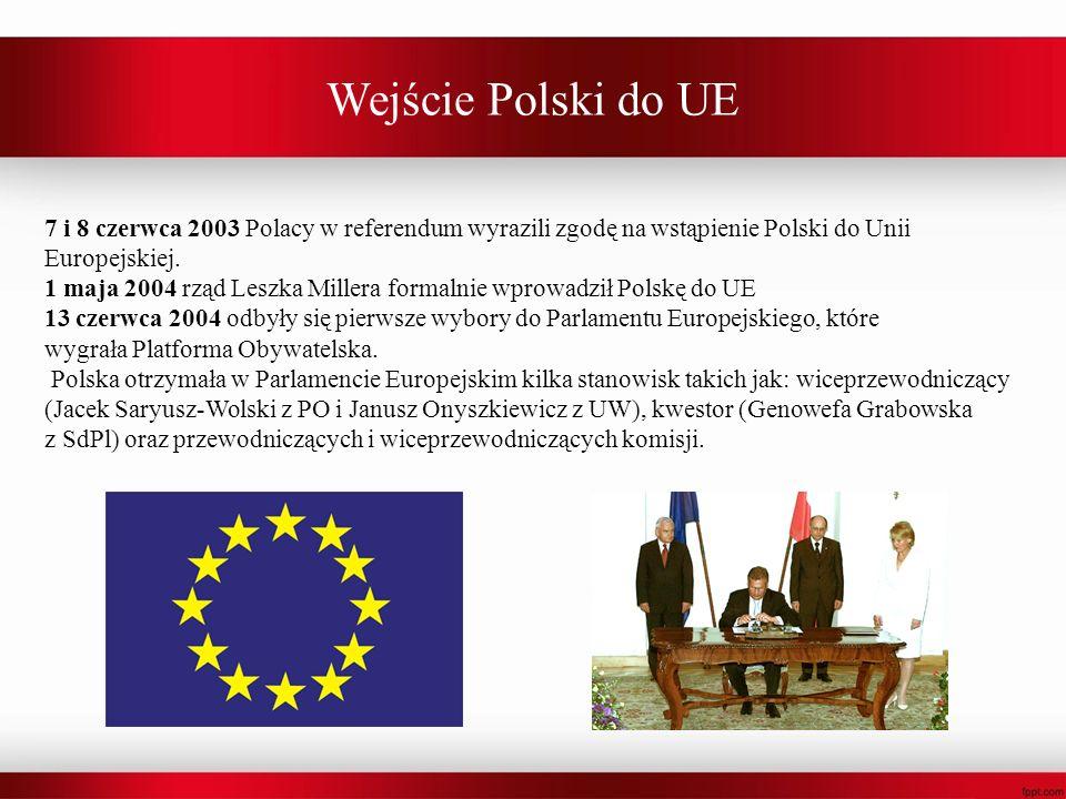 Wejście Polski do UE 7 i 8 czerwca 2003 Polacy w referendum wyrazili zgodę na wstąpienie Polski do Unii Europejskiej. 1 maja 2004 rząd Leszka Millera